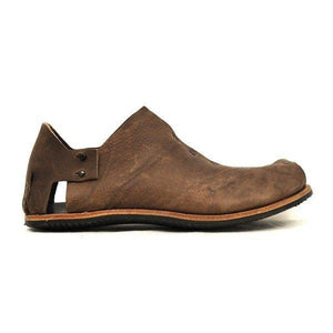 Square Head Stitching Leather Shoes