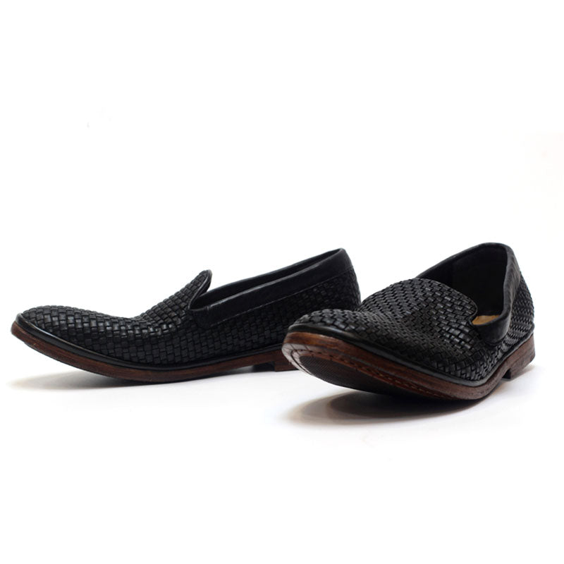 Handwoven Vintage Men's Leather Slip-On Shoes