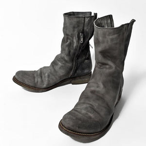 Men Double Zippers Leather Boots