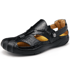 Men Comfortable Anti Collision Toe Genuine Leather Sandals Shoes