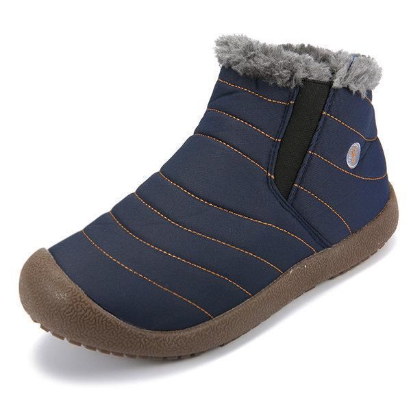 Men Large Size Warm Fur Lining Waterproof Flat Slip On Snow Boots