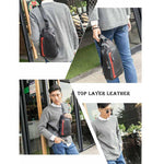 Men's One-shoulder Crossbody Casual Color Leather Backpack