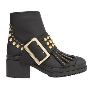 Retro Thick Belt Buckle Rivet Low Boots