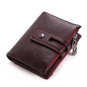 Men Zipper Buckle Leather Wallet