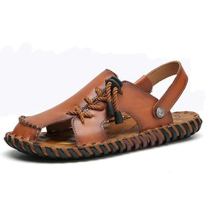 Men Non Adhesives Hand Stitching Closed Toe Soft Leather Sandals