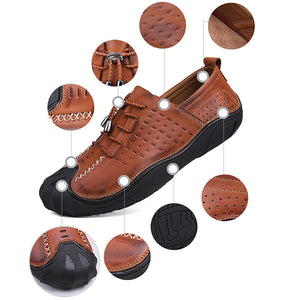 Vintage Genuiner Leather Anti-collision Toe Soft Lace Up Casual Shoes