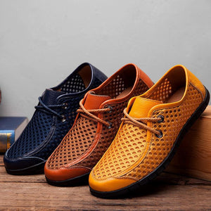 Men's British Style Mesh Breathable Casual Shoes