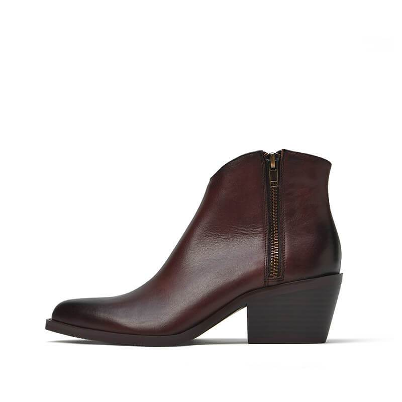 Vintage Waxed Cowhide Side Zip Ankle Boot Martin Boot