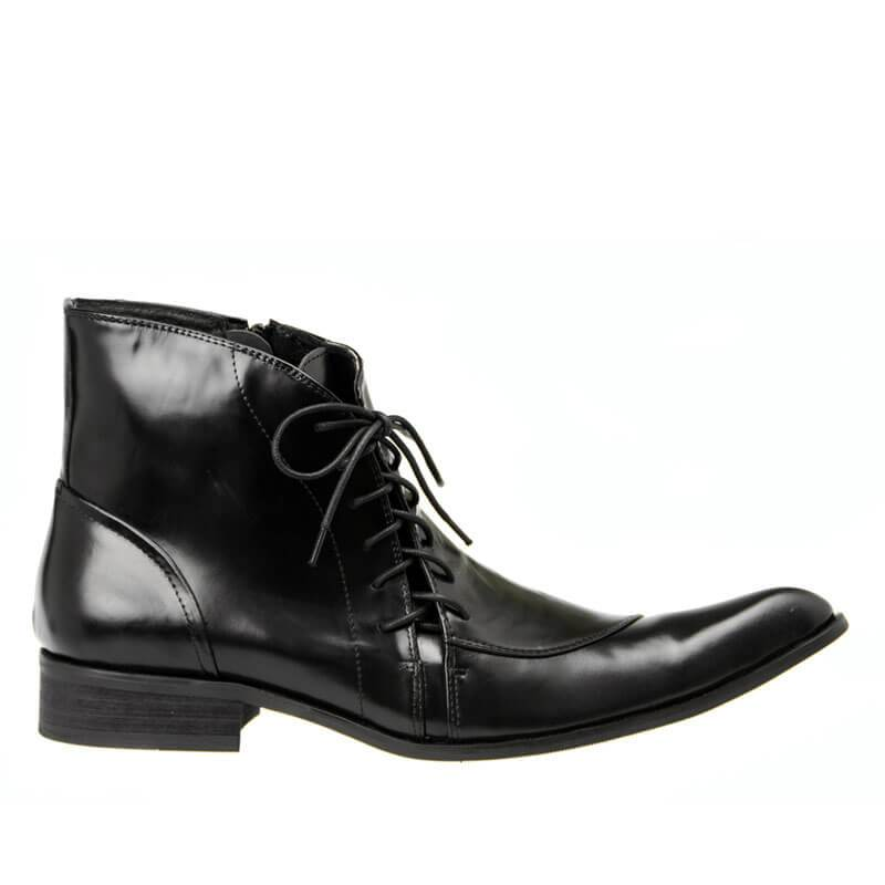 Men Pointed Zipper Leather Boots