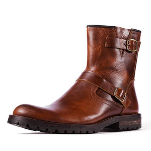 Men Handmade Buckle Band Leather Boots