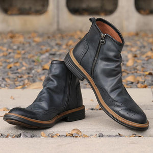Genuine Leather Vintage England Chelsea Boots