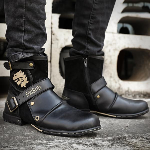Men Motorcycle Zipper Retro Low Boots