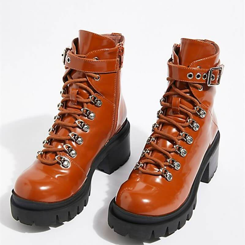 Women Lace-Up Rainbow Leather Boots