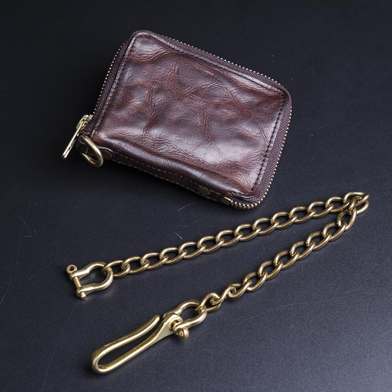 Vegetable Tanning Full-grain Leather Zipper Wallet