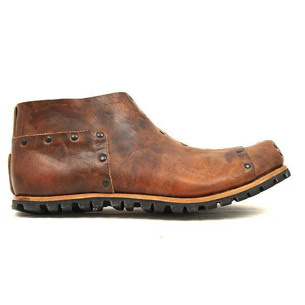Men Vintage Square Head Stitching Leather Boots
