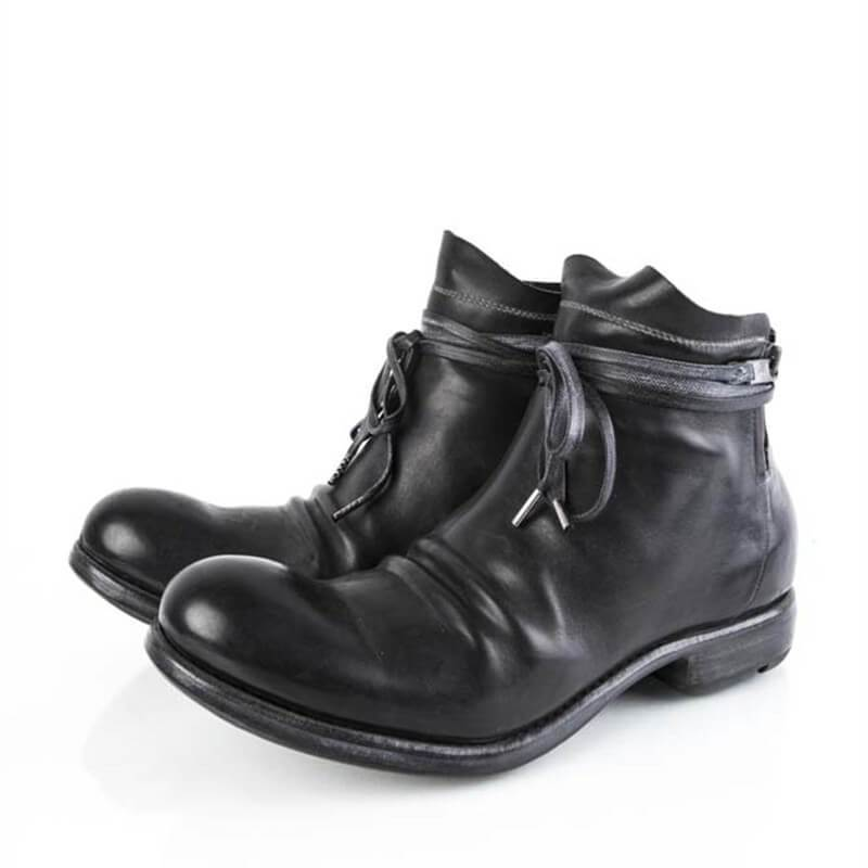 Men Double Zipper Leather Ankle Boots