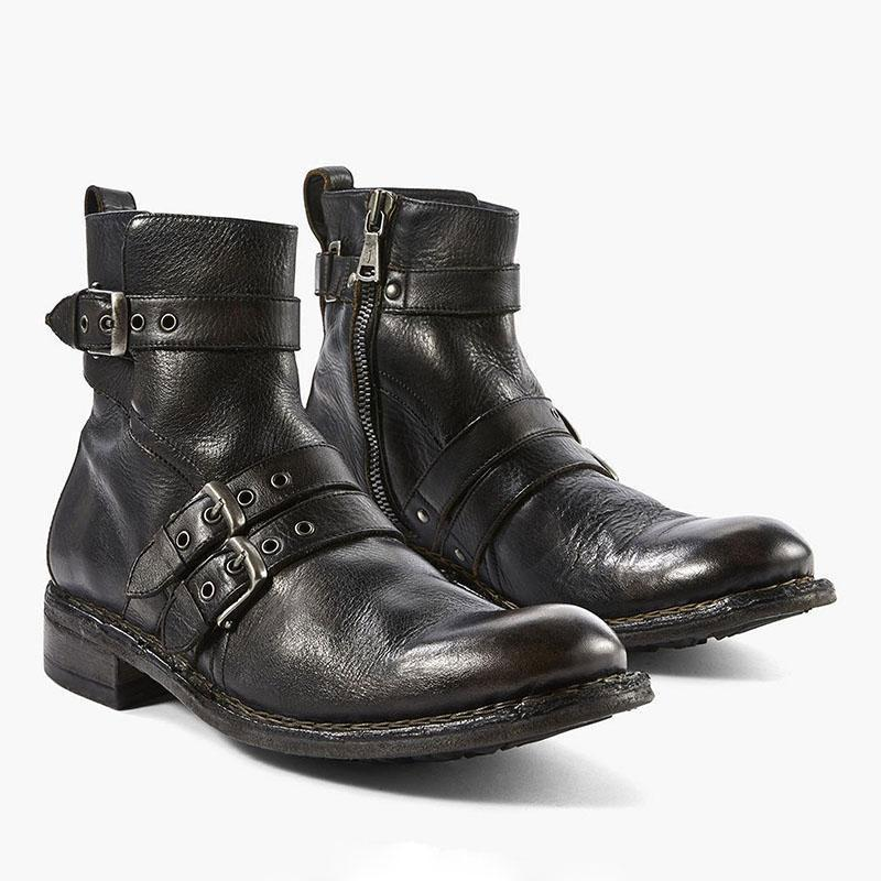 Men Leather Buckle Ankle Boots