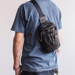 Men's Leather Chest Bag Crossbody bag