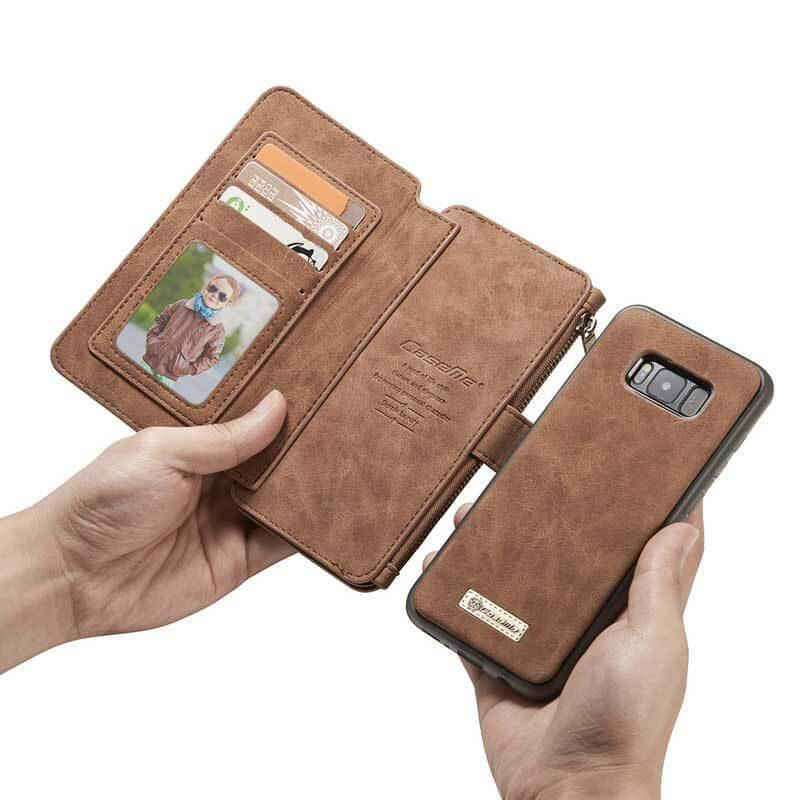 Leather Multifunctional Zipper Wallet with Phone Cover