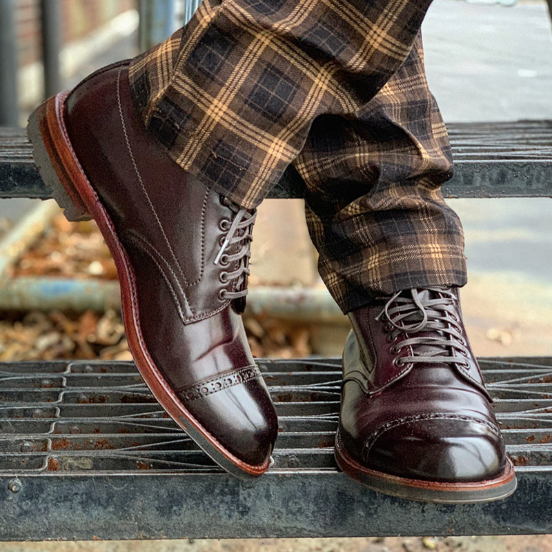 Original Design Maroon Calfskin Leather Straight Tip Boot