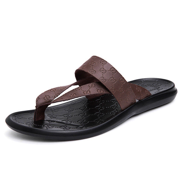 Real Leather Clip Toe Wearing Cool Beach Sandals