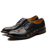 Men's crocodile pattern hand-painted Derby shoe