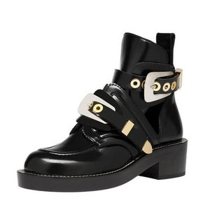Martin boots with chunky motorcycle boots with stylish black cutouts