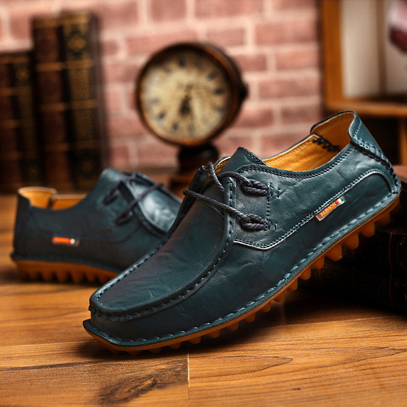 Genuine Leather Stitching Boat Shape British Style Lace Up Casual Shoes