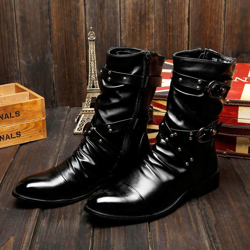Men's Riveted Leather Boots