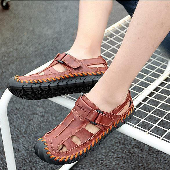 Large Size Genuine Leather Outdoor Beach Sandals