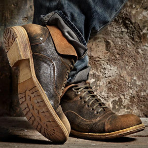 Men Vintage Flip Leather Boots