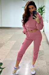 Pink Cropped Sweatshirt & Joggers Loungewear Set