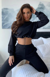 Black Cropped Sweatshirt & Joggers Loungewear Set