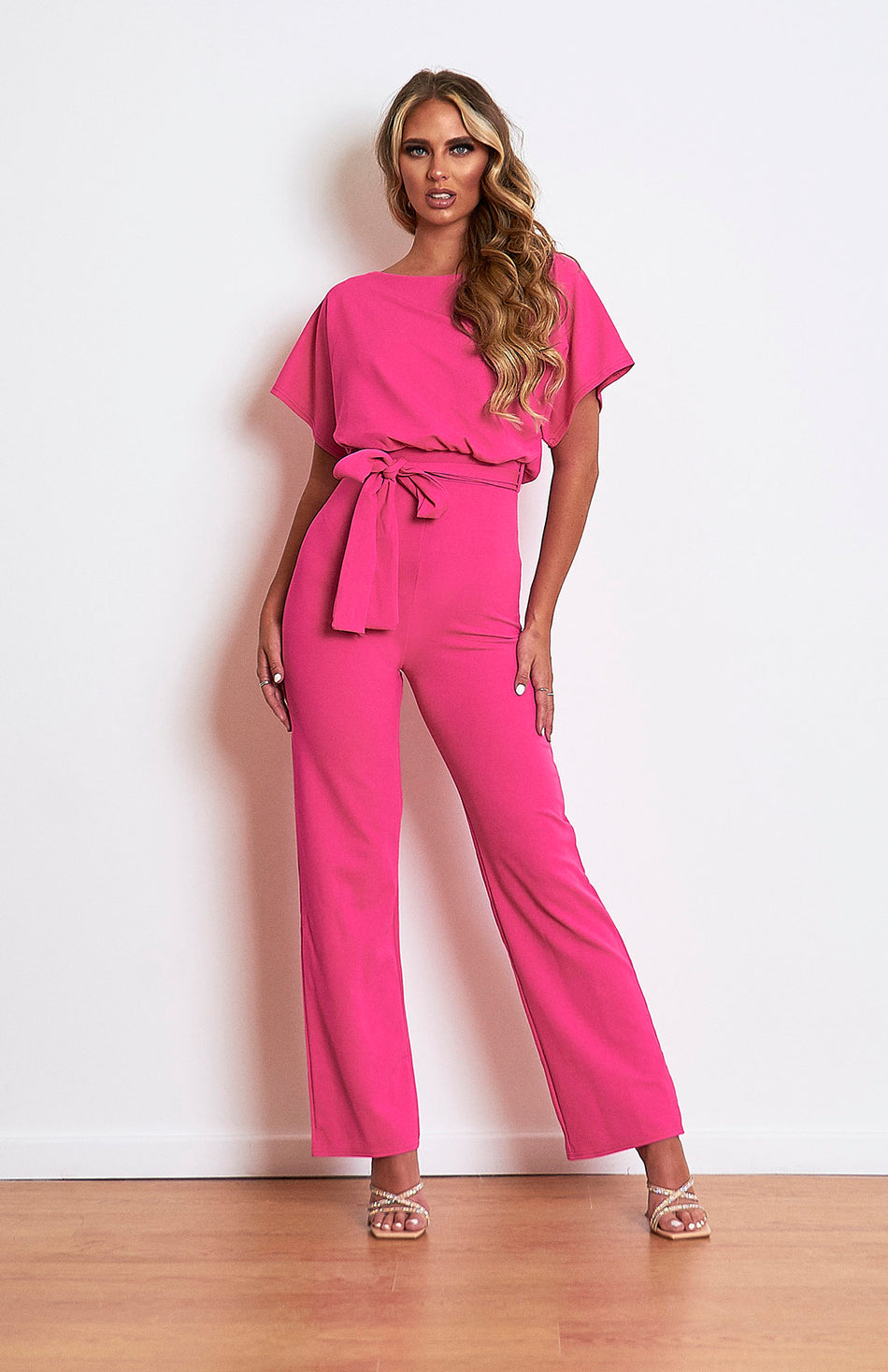 Hot Pink Belted Batwing Jumpsuit