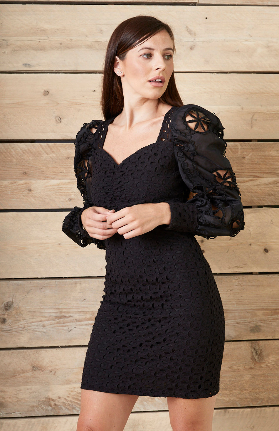 Black Broderie Anglaise Puff Sleeve Mini Dress