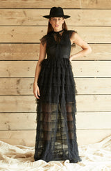 Black Tulle Ruffle High Neck Maxi Dress