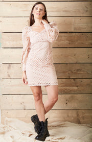Nude Sweetheart Neck Broderie Anglaise Mini Dress