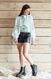 Mint Lace Panel High Neck Pussy Bow Shirt