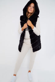 Black Faux Fur Hooded Gilet