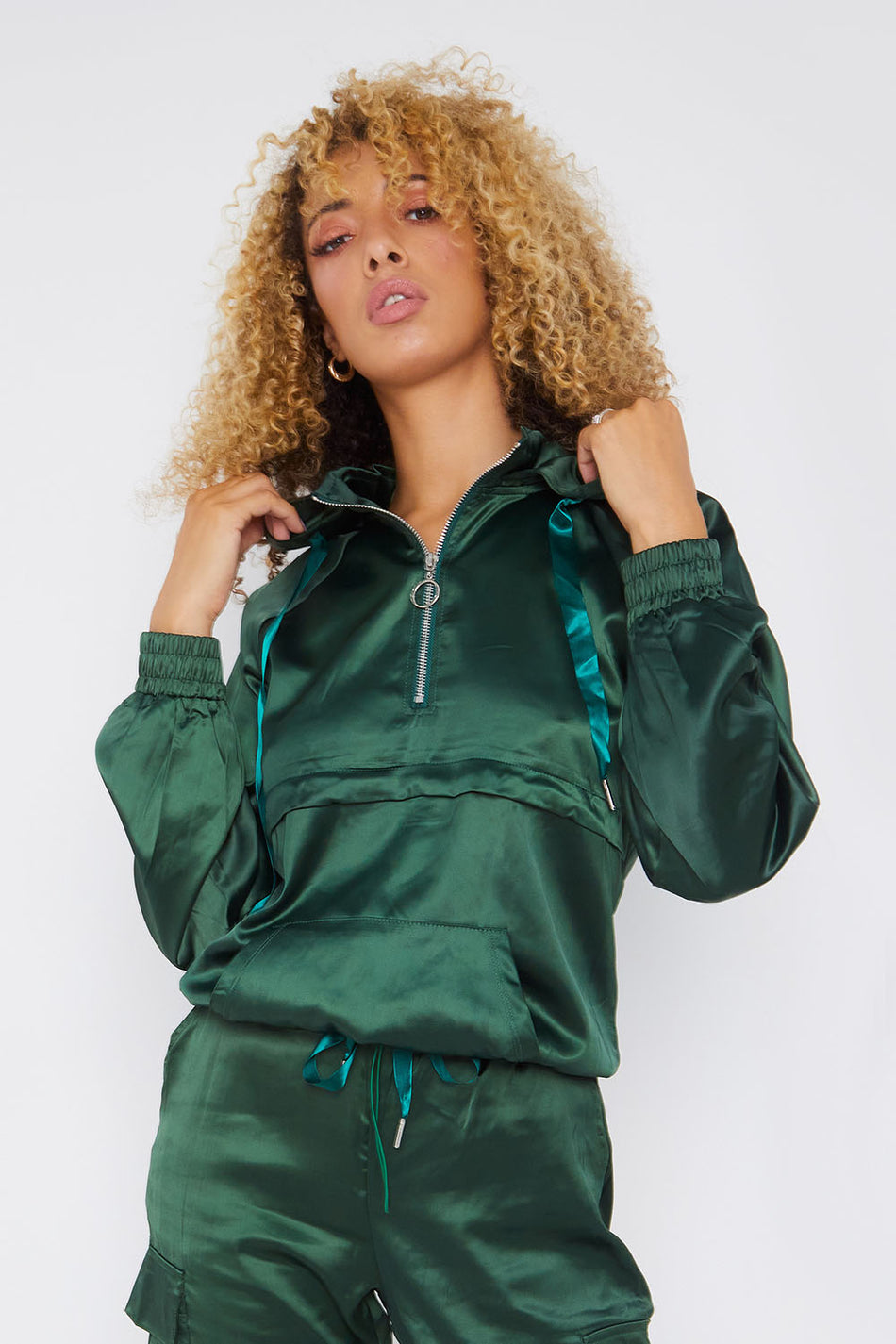 Emerald Green Satin Hooded Loungewear Set
