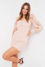 Nude Lace Sweetheart Mini Dress