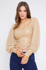 Caramel PU Corset Top With Sheer Puff Sleeves