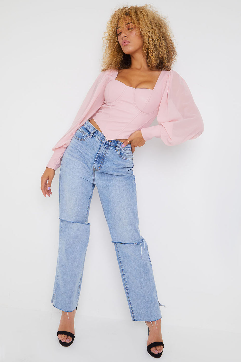 Baby Pink PU Corset Top WIth Sheer Puff Sleeves