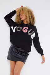 Black Wool Vogue Logo Oversized Sweater