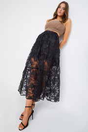 Black Floral Sheer Maxi Skirt