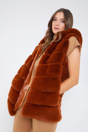 Rust Faux Fur Hooded Gilet