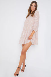 Nude Long Sleeved Smock Dress