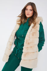 Cream Hooded Faux Fur Gilet