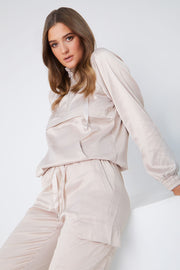 Beige Satin Loungewear Trainingsanzug