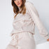 Beige satijnen loungewear trainingspak
